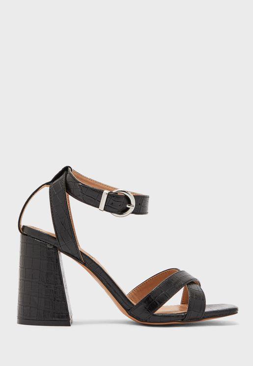 Sacha Block Ankle Tie Heels Sandal