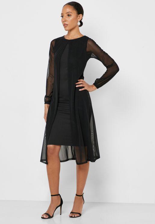 فستان بطبقات شبكية