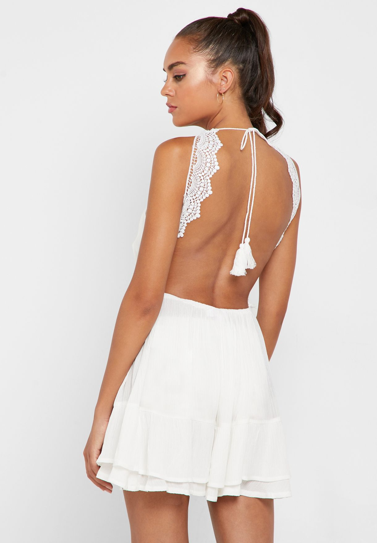 Crochet Insert Open Back Cover Up