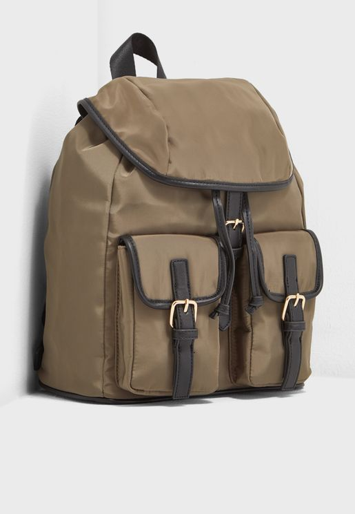 Buckle-Strap Drawstring Backpack