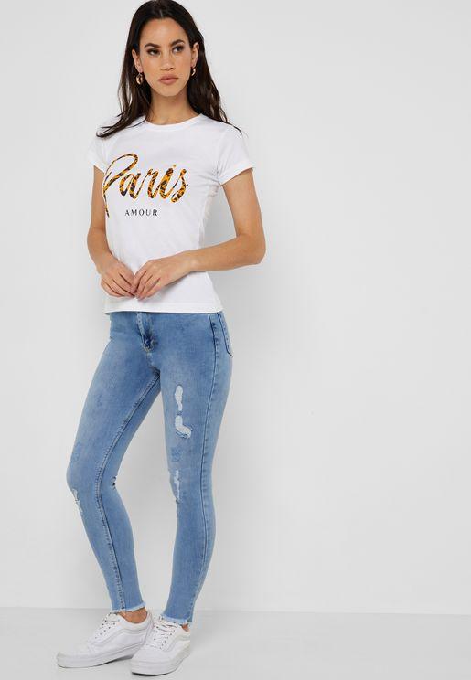 Raw Hem Ripped SkinnyJeans