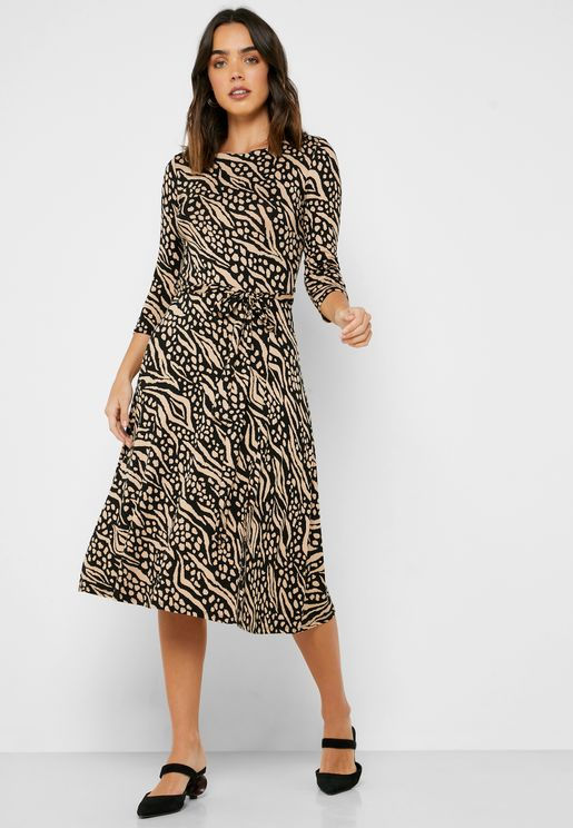 Front Split Printed Dress