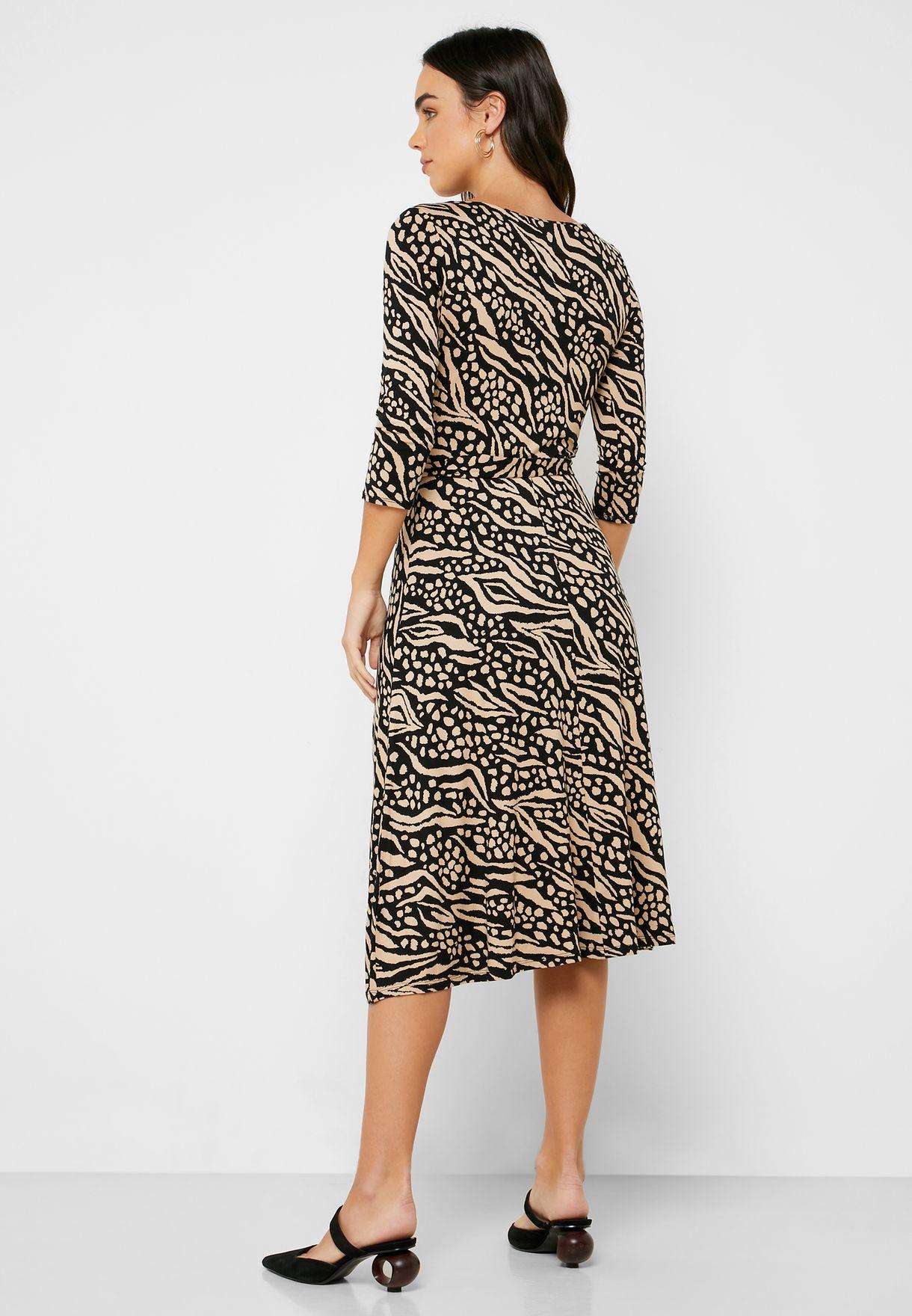 Front Split Printed Dress