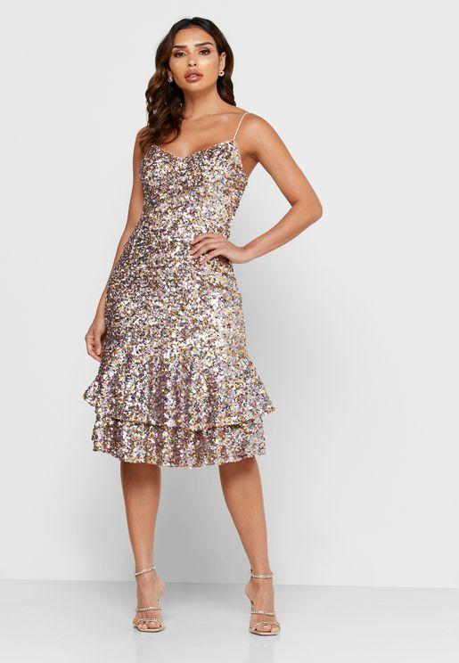 Ruffle Hem Sequin Dress