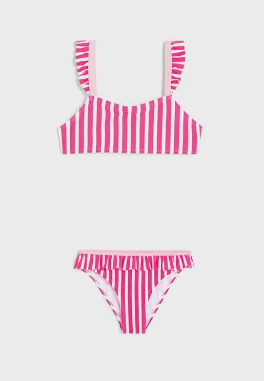 Kids Striped Bikini Set