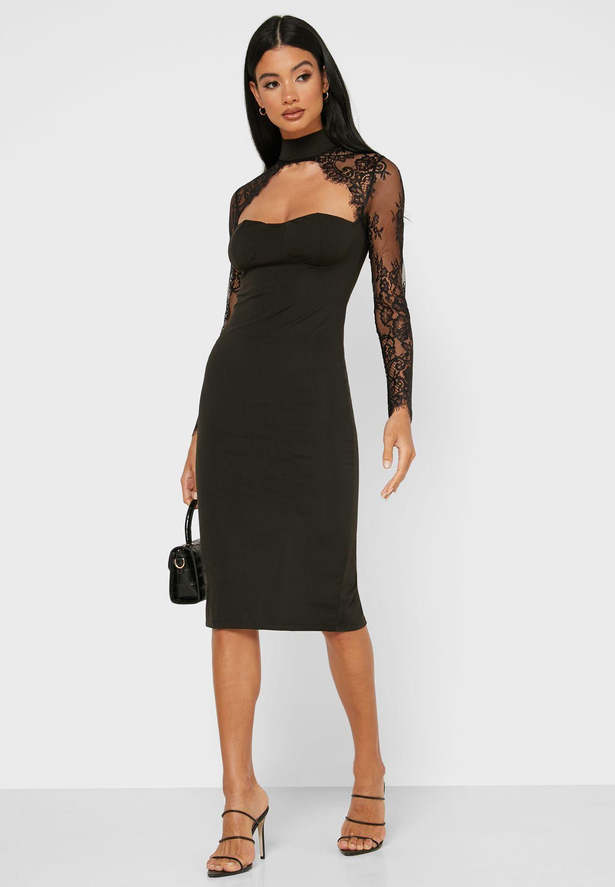 Lace Keyhole Yoke Midi Dress