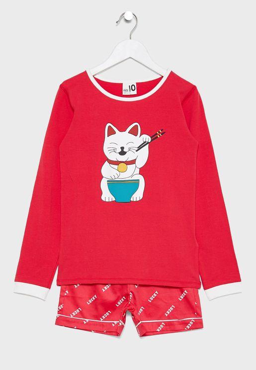 Kids Lucky Cat Pyjama Set