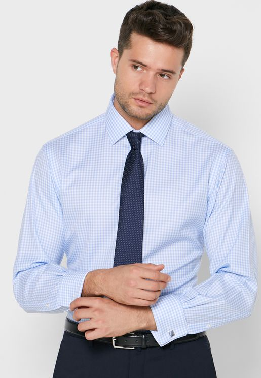 Gingham Double Cuff Slim Fit Shirt