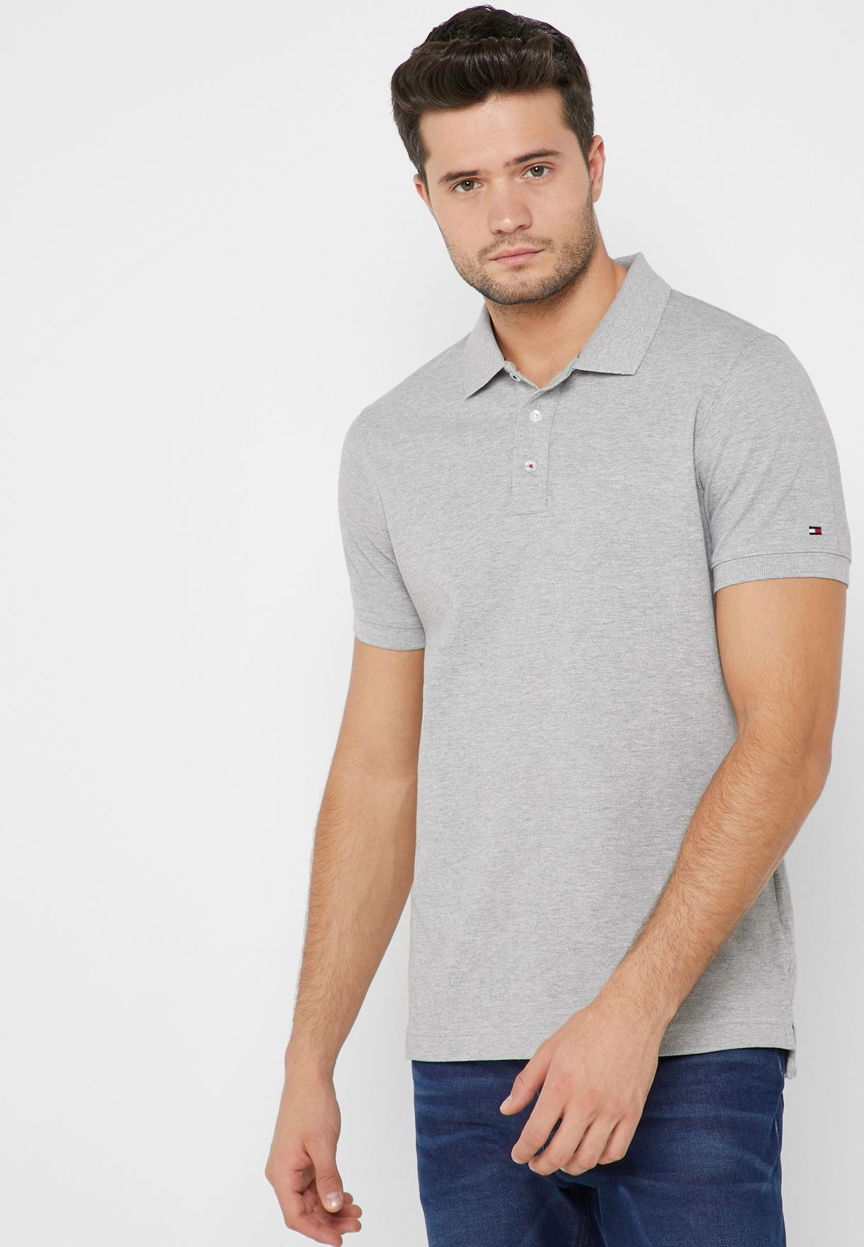 481706a1 Shop Tommy Hilfiger grey Icon Back Stripe Polo MW0MW09777 for Men in ...