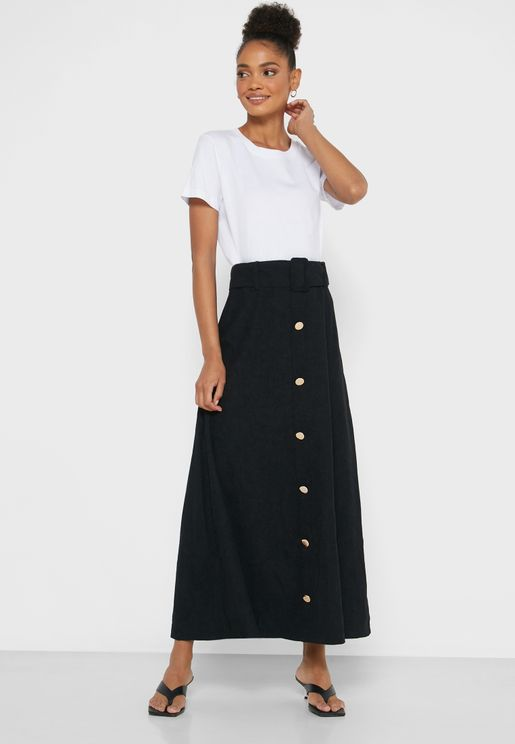 Button Down Belted Midi skirt