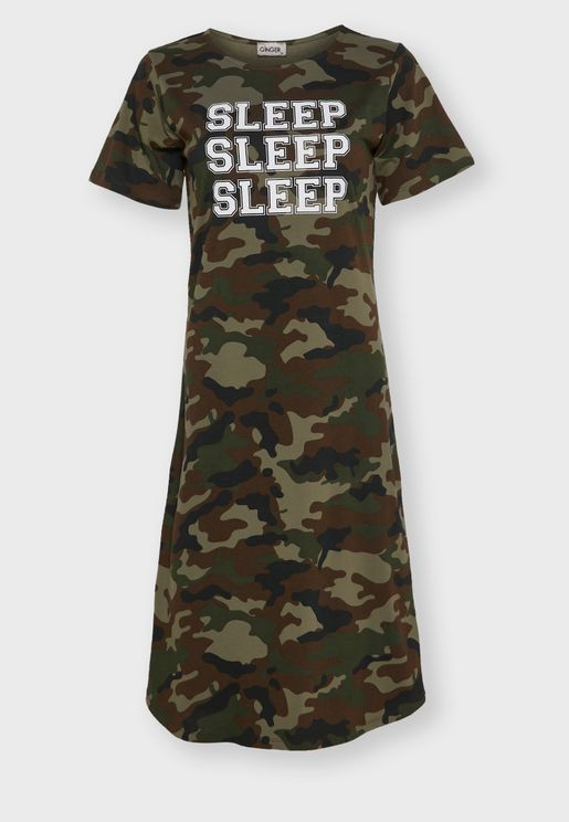 Camo Slogan Nightdress