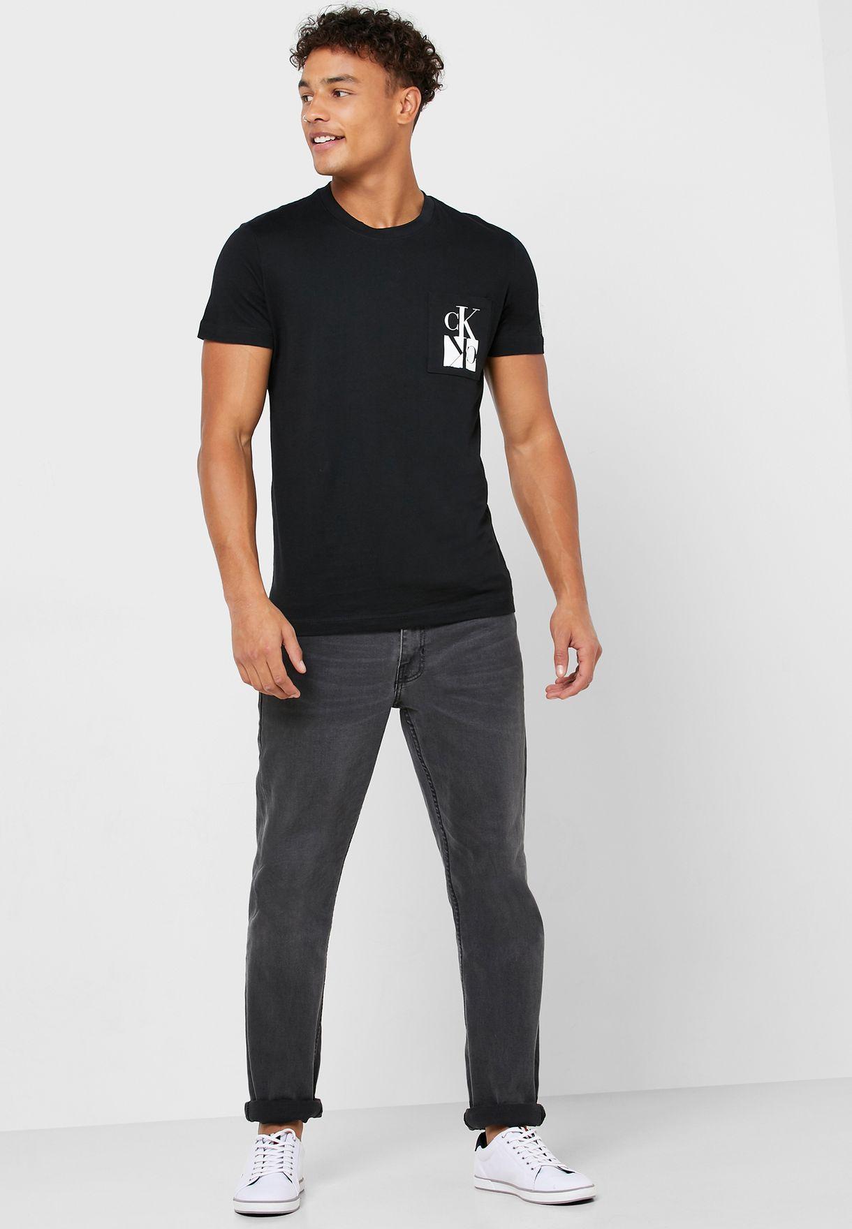 Mirrored Logo Pocket Crew Neck T-Shirt
