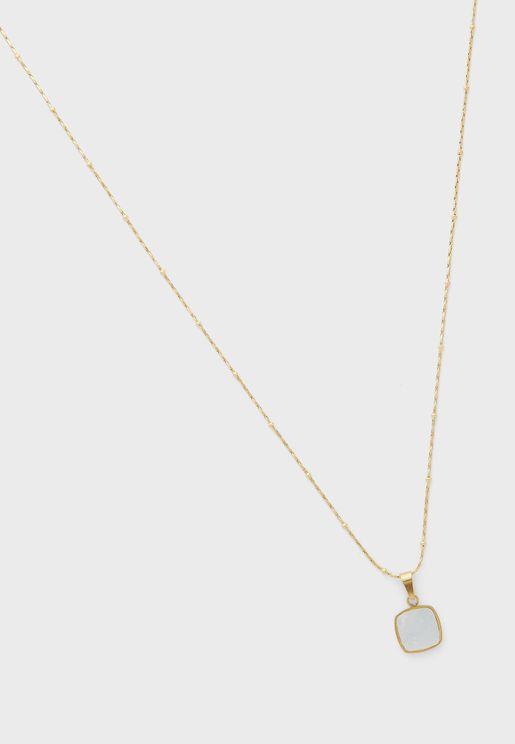 White Hexagon Pendent Long Necklace