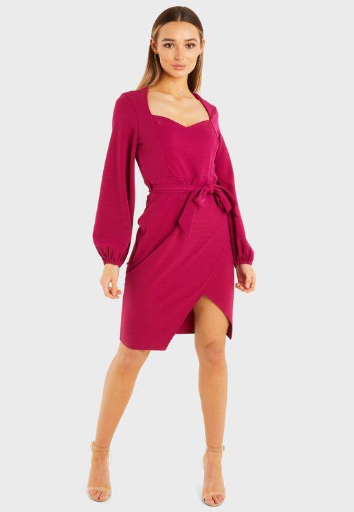 Puff Sleeves Sweetheart Neckline Midi Dress