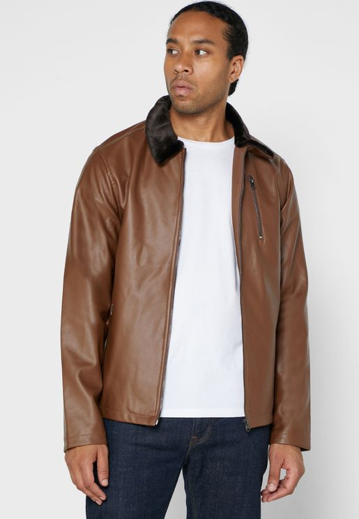 Shearling Collar PU Leather Jacket