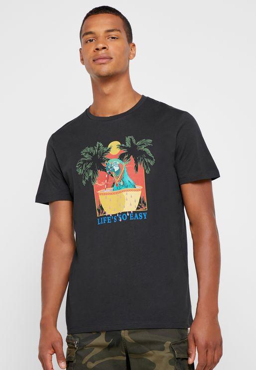Parrot Print Crew Neck T-Shirt
