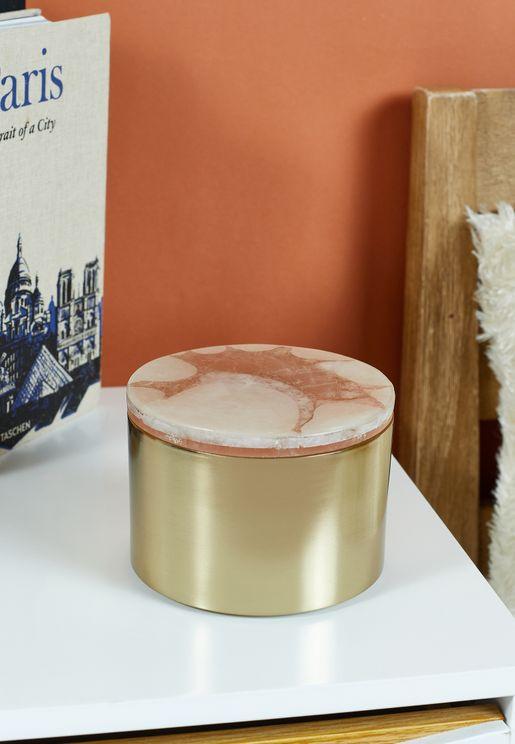 Bowerbird Pink Quarts & Gold Trinket Box
