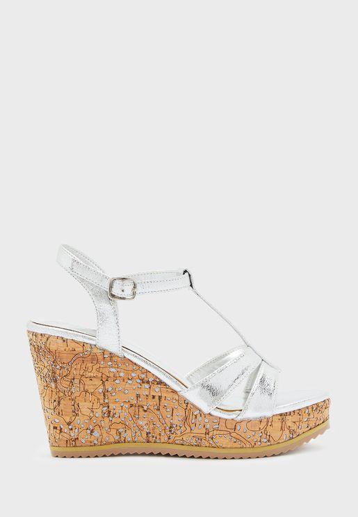 T-Bar Wedge Low Heel Sandal