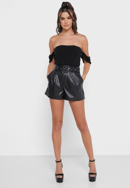 Leather Belt Detail Shorts