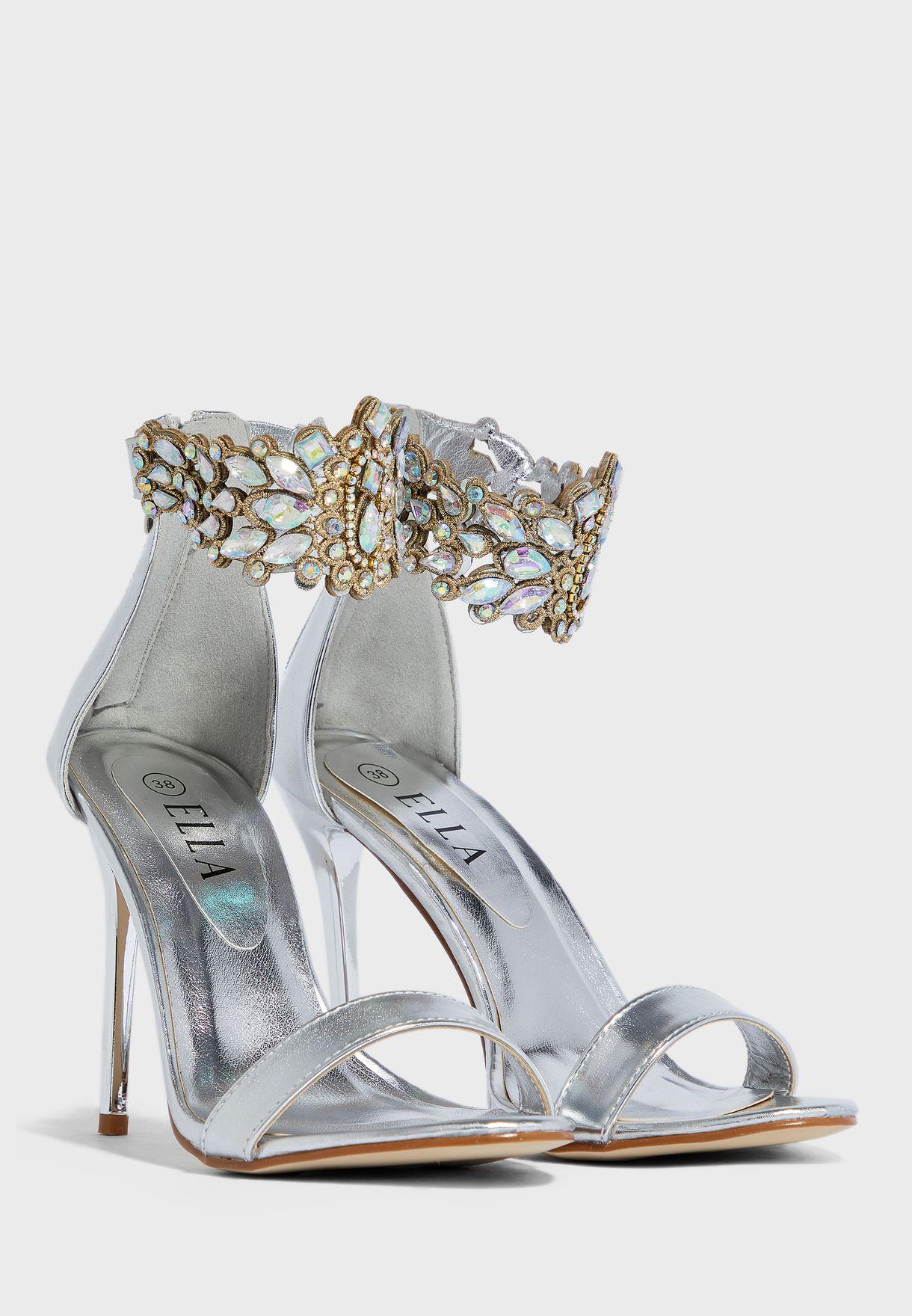 Stone Encrusted Ankle Strap Sandal