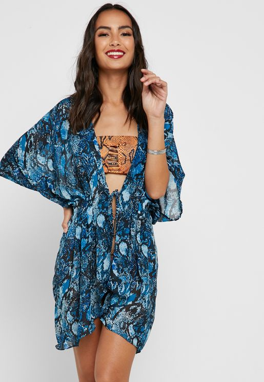 Printed Front Knot Beach Dress