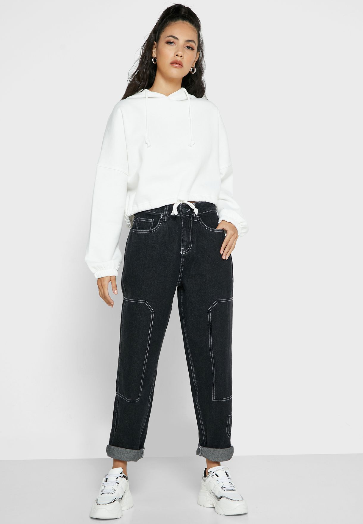 Contrast Stitch Mom Jeans