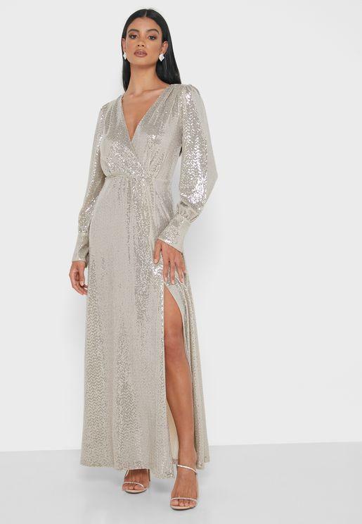 Abito Side Split Shimmer Plunge Dress