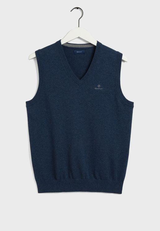 Knitted V-Neck Sleeveless Sweater
