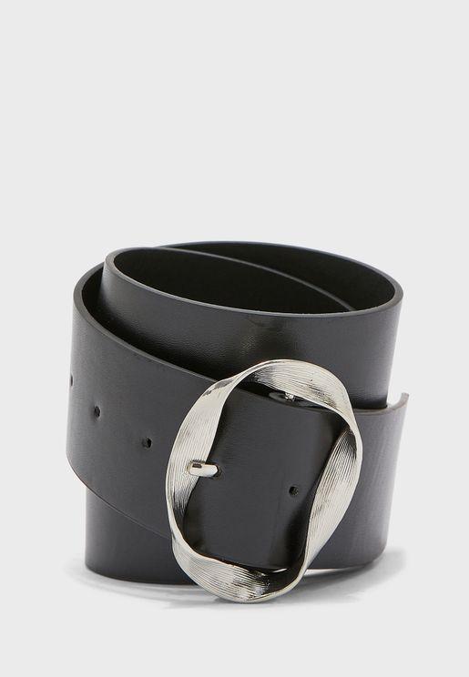 Silver Twisted Oval Buckle Belt