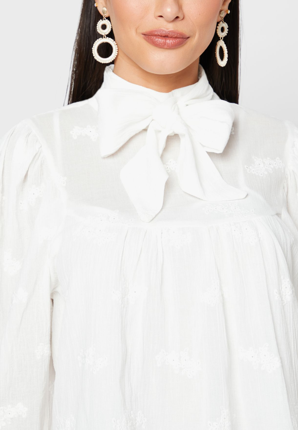 Tie Neck Balloon Sleeve Shirt