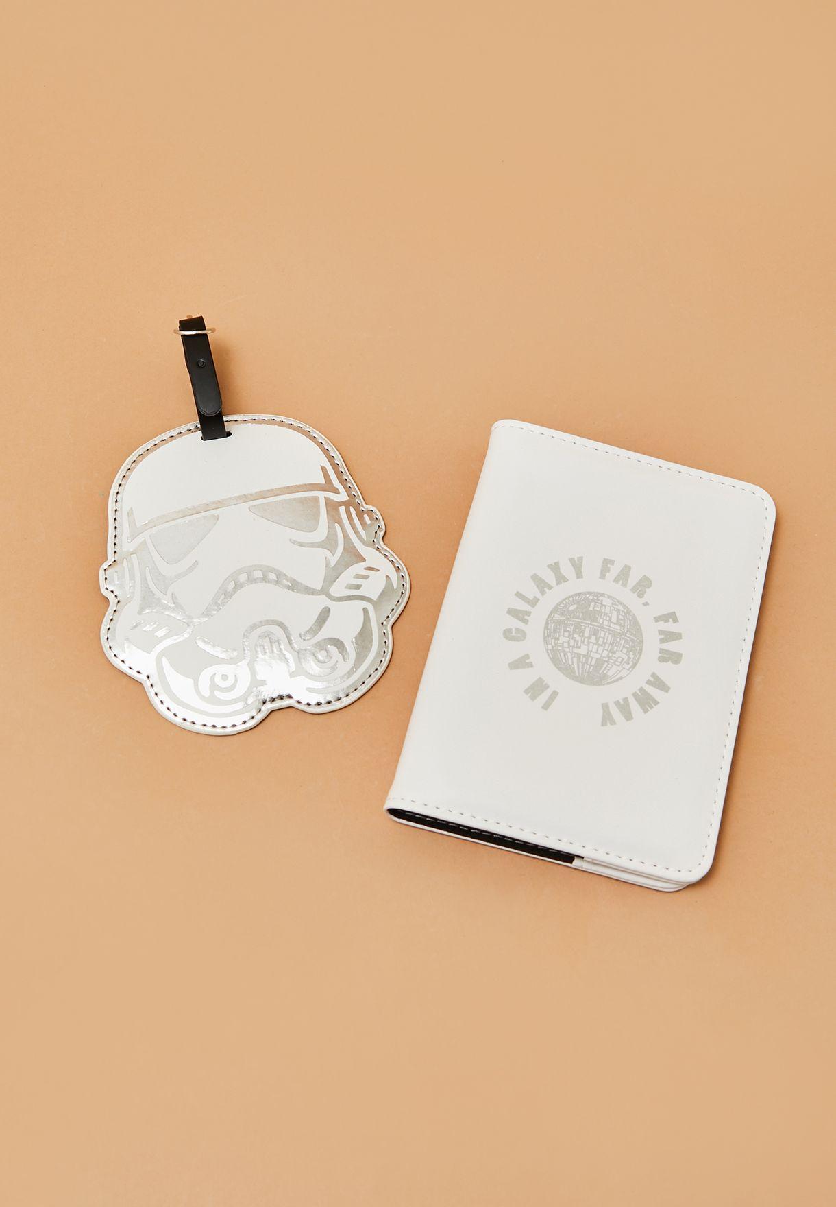 طقم من حافظة جواز سفر وبطاقة تعريف للامتعة
