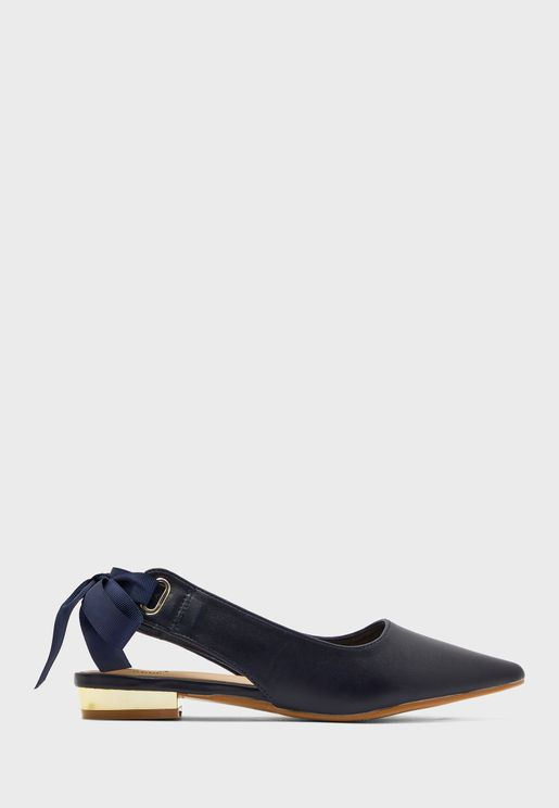 Pointed Ribbon Tie Back Shoe With Gold Heel