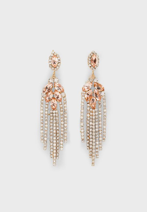 Diamante Chandelier Chain Earrings