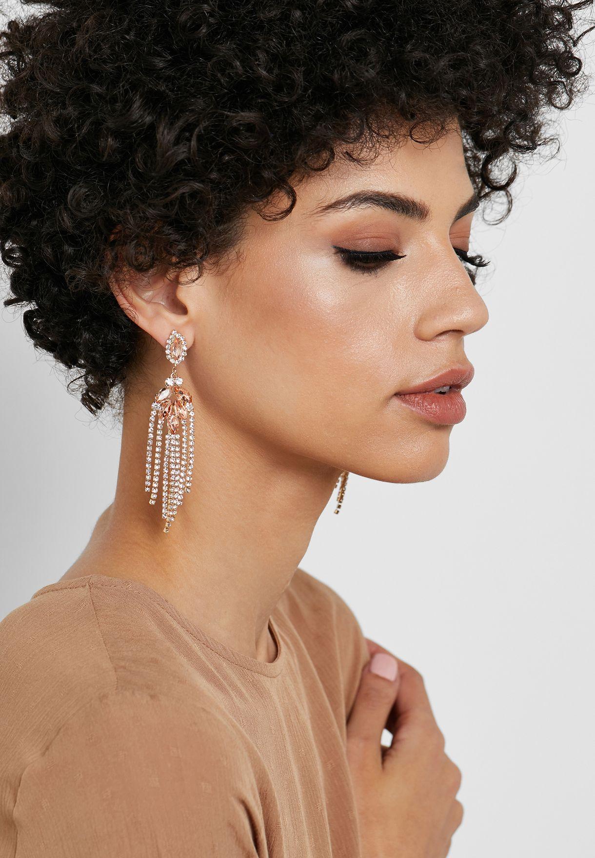 Diamante Chandelier Chain Earrings