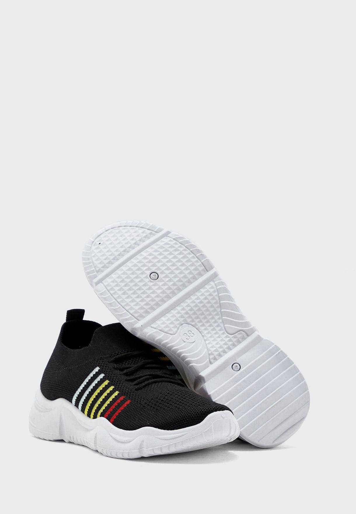 Rainbow Sole Stripe Knit Sneakers