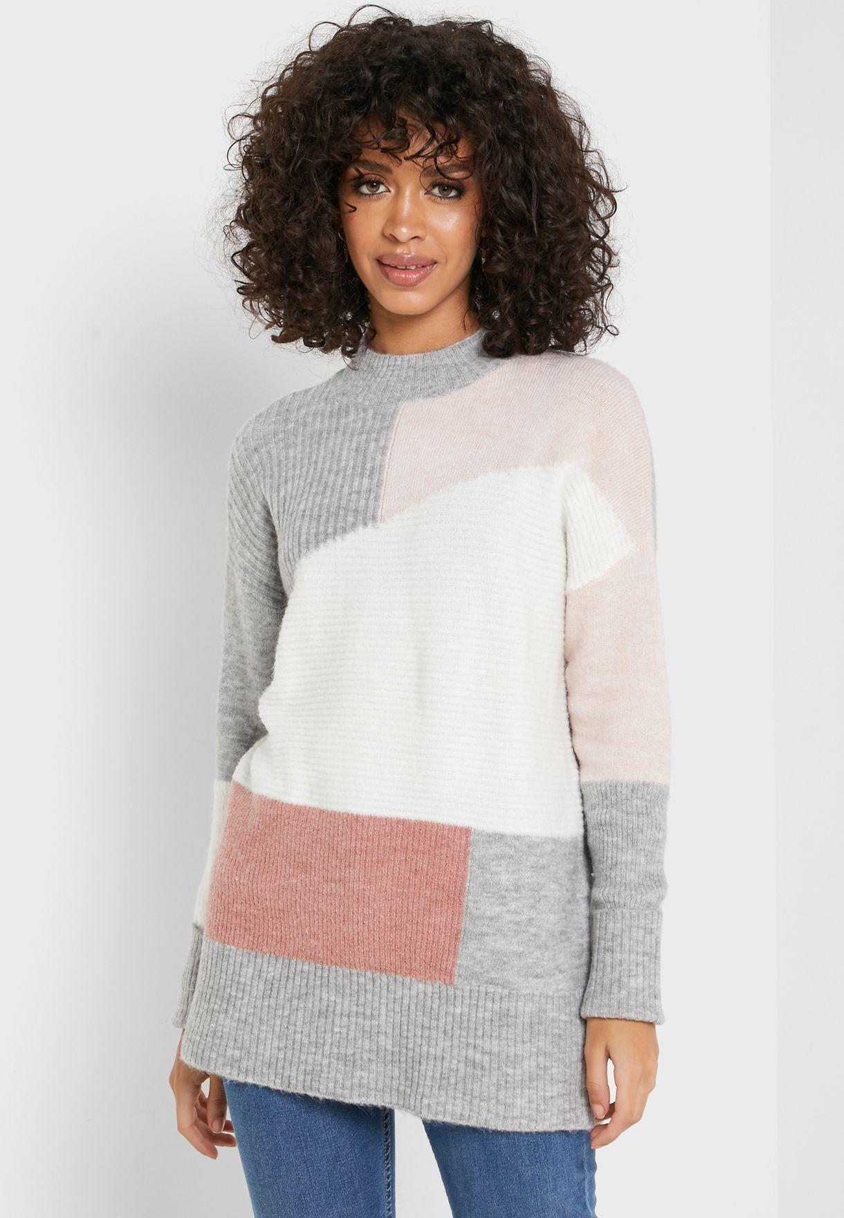 Colorblock High Neck Sweater