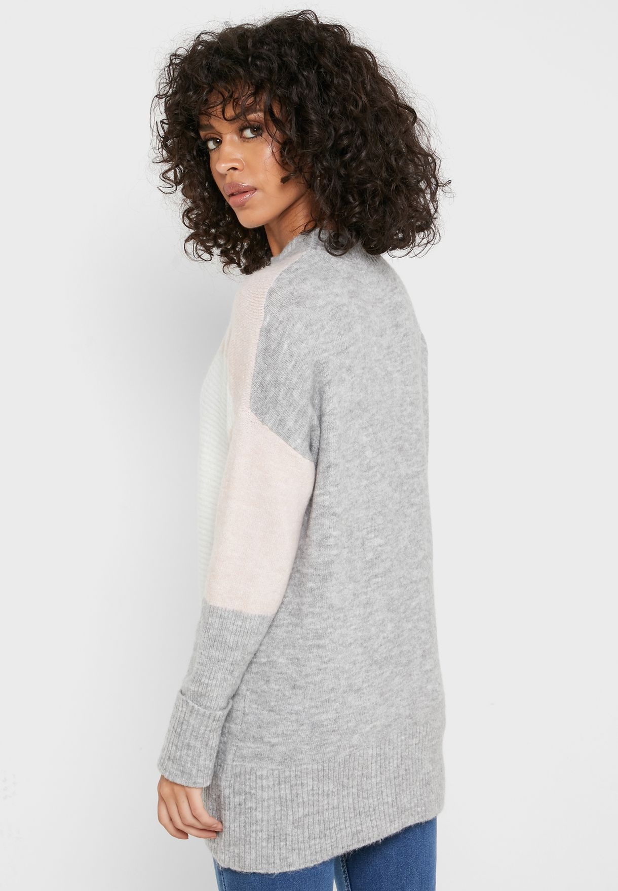 Buy New Look Multicolor Colorblock High Neck Sweater For Women, Uae 17736at63egp