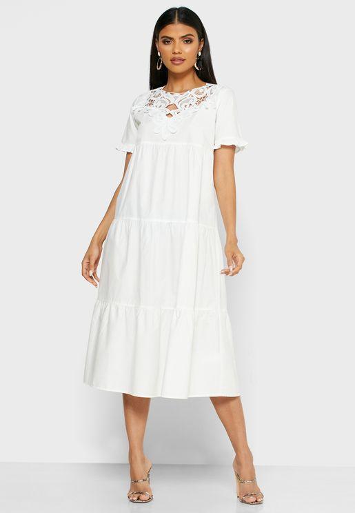 فستان كروشيه طبقات