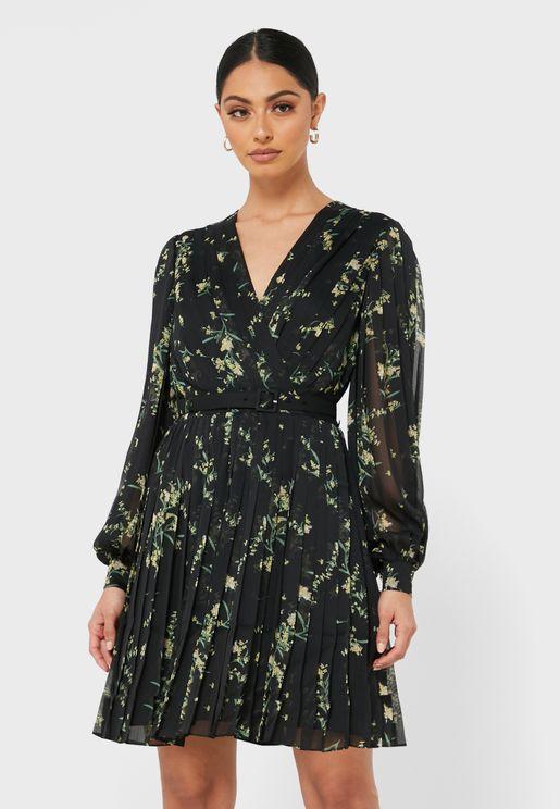 Izziiy Pleated Surplice Dress