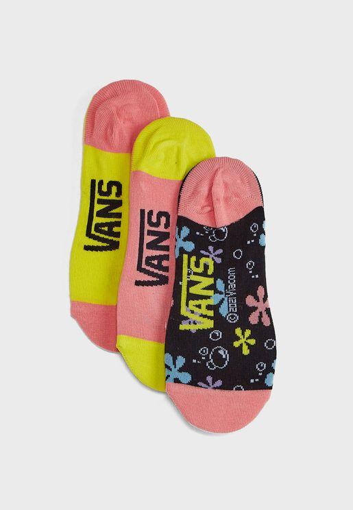 3 Pack SpongeBob No Show Socks