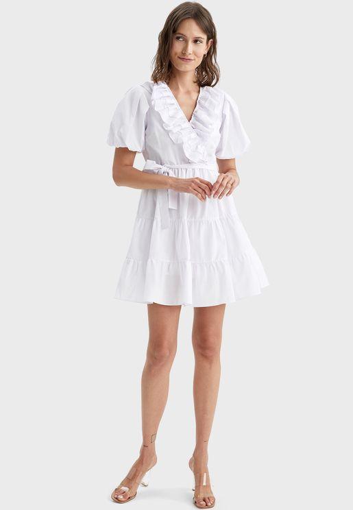 Puff Sleeves Ruffle Detail Dress