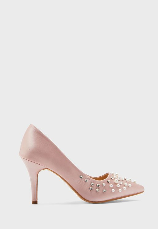 Pearl And Diamante Satin Pointed Pump