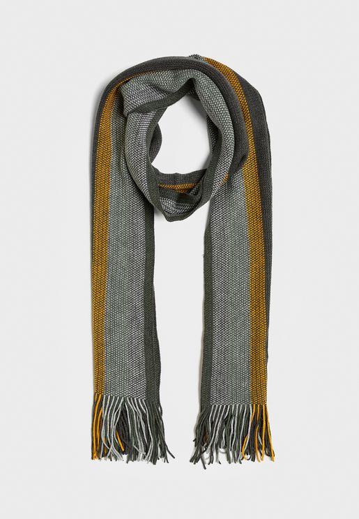 Striped Tassel Scarf