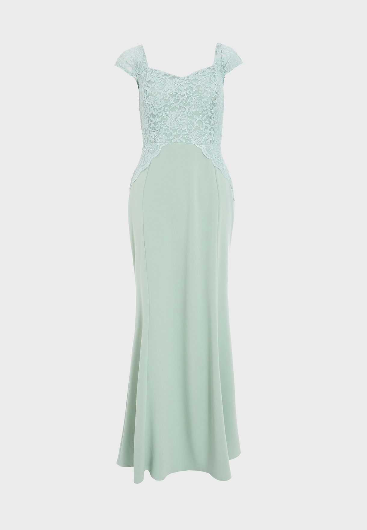 Glitter Lace Ruched Cap Sleeve Maxi Dress