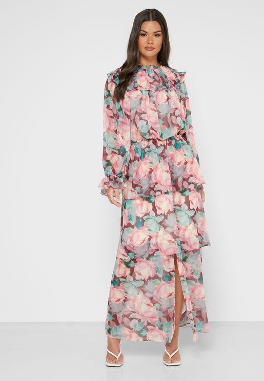 High Floral Print Dress