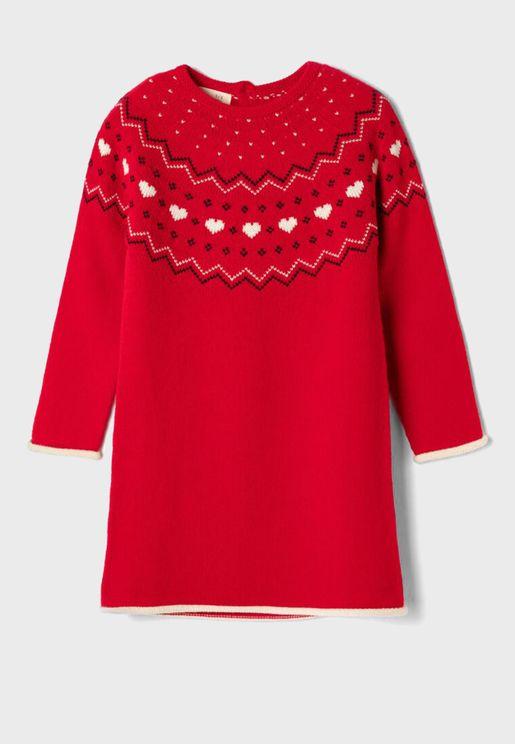 Kids Jacquard Knitted Dress