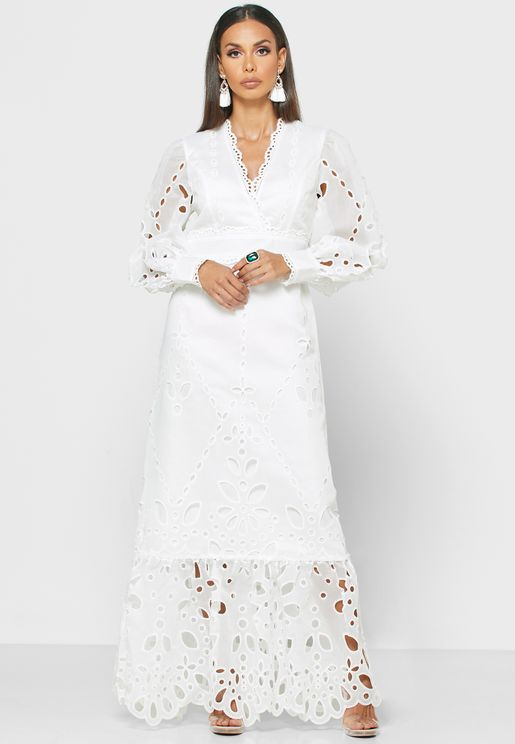 Lace Detail Cuffed Sleeves Dress