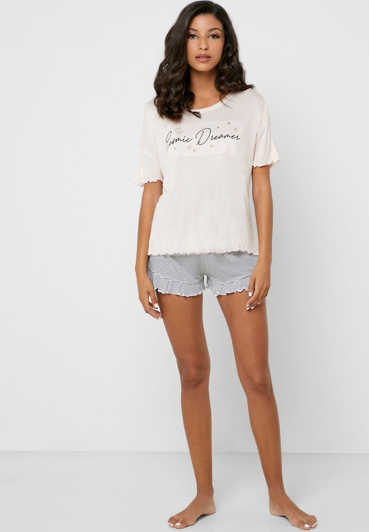 Slogan T-Shirt & Shorts Set