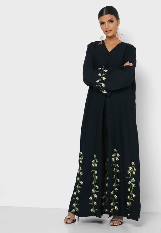 Umbrella Cut Embroidered Abaya