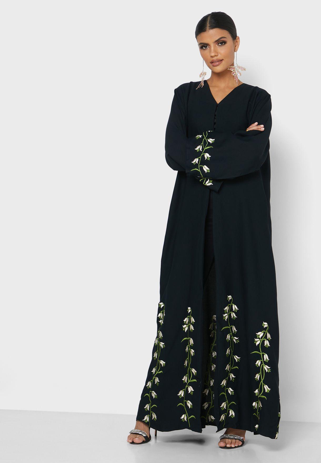 Umbrella Cut Embroidered Abaya